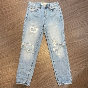 Blue Denim Garage Ripped Mom Jeans   Size 03